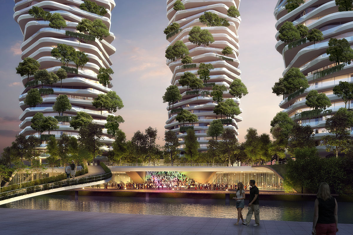 Yancheng Vertical Forest, Yancheng. A project by Ippolito Fleitz Group – Identity Architects, Storytelling.