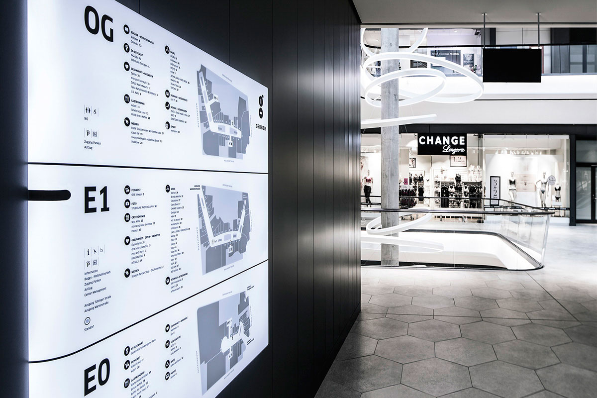 Gerber Signage System, Stuttgart. A project by Ippolito Fleitz Group – Identity Architects.