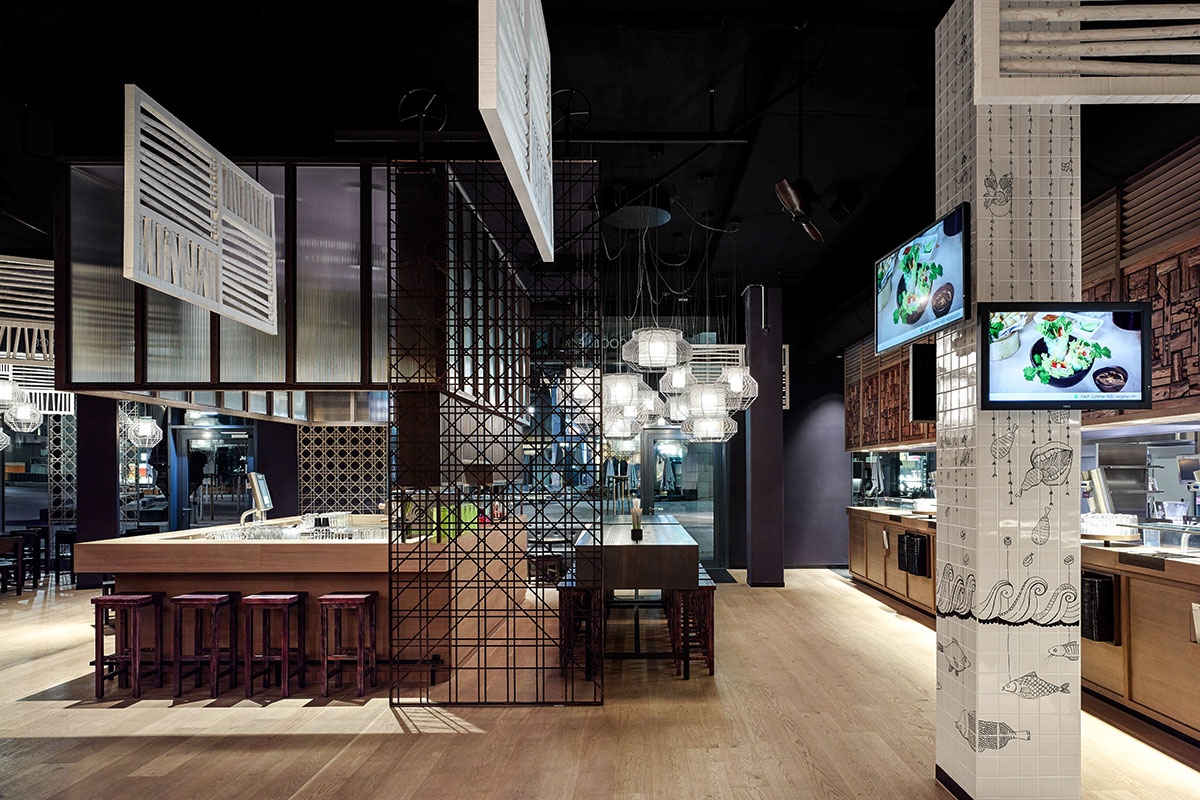 GinYuu Stuttgart, Stuttgart. A project by Ippolito Fleitz Group – Identity Architects, Floors.